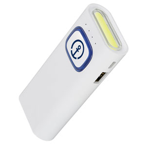 Powerbank with COB-LED Torch  - The power bank with 4400 mAh capacity has an input of 5 V/2 A and an output of 5 V/2.1 A.